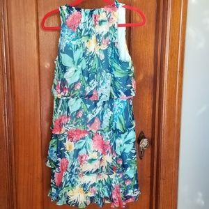 NWT Chetta B Green floral tiered dress